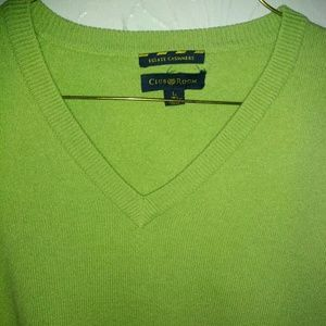 New Club Room Sweater L 100% Cashmere Green